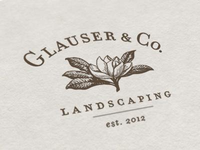 Glauser & Co. Landscaping Logo glauser  co. landscaping logo magnolia flower vintage leaves