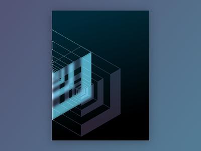 Poster Design cube blue poster