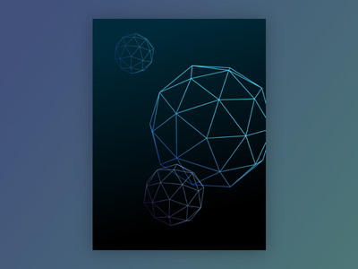 Poster Design wire geometry sphere blue poster