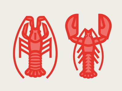 lobsters illustrator illustration icon flat vector logo design