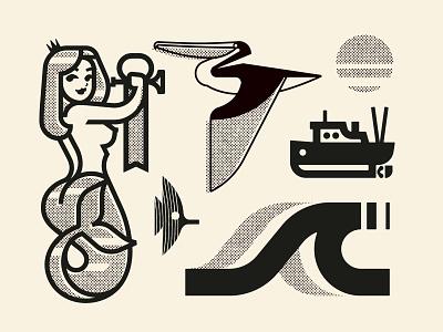 Seaside art pictogram character design illustration flat icon graphic design illustrator vector logo