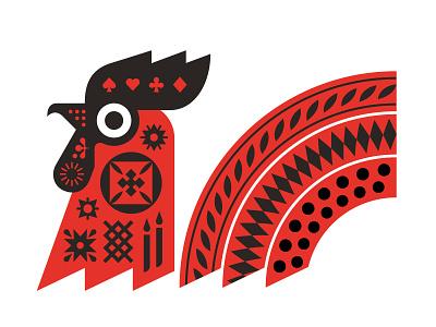 Silky Beard russian fairytale geometric tattoo red cock illustration vector graphic design