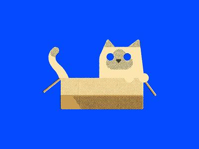 Cat in box postcard geometric cute flat illustrator vector illustration ill graphic design