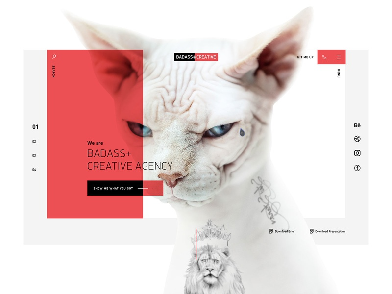 Badass+Creative Agency tattoo kitten cat black red home page ui web design