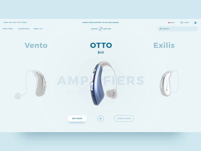 Hearing Amplifier Product Slider interaction design interaction ecommerce 3d ui web design