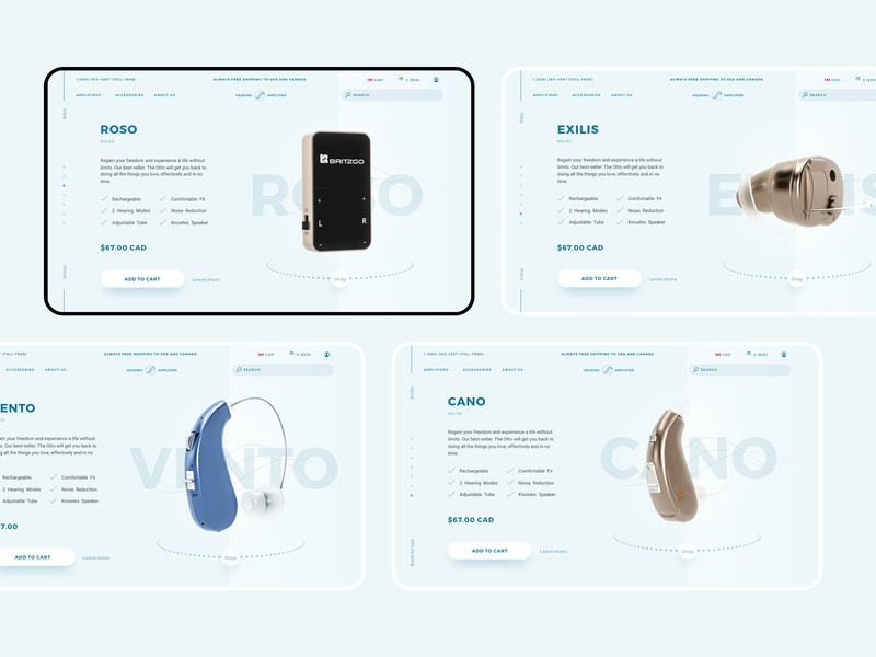 Hearing Amplifiers ecommerce 3d web design ui