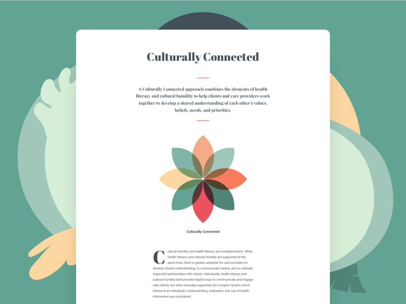 Culturally Connected primitive typography education healthcare abstact ui web design