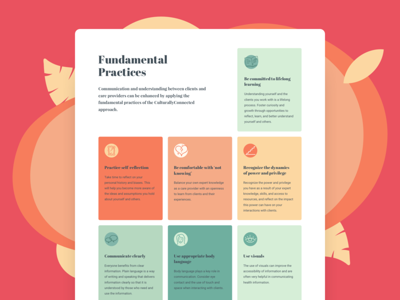 Fundamental Practices healthcare educational colorful cards ui web design