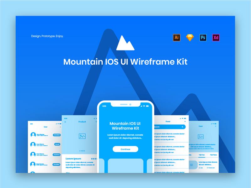 Mountain IOS UI Wireframe Kit ux mobile app kit wireframe iphonex ios ui photoshop xd illustrator sketch