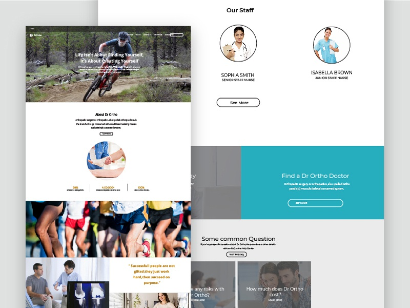 Bones Joint Hospital patient doctor medicine medical mobile hospital page website ux ui joint bones