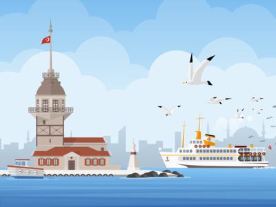 Istanbul maiden's tower illustration