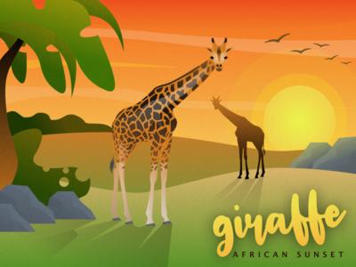 Giraffe African Sunset
