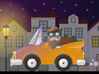 Cat Night Driving