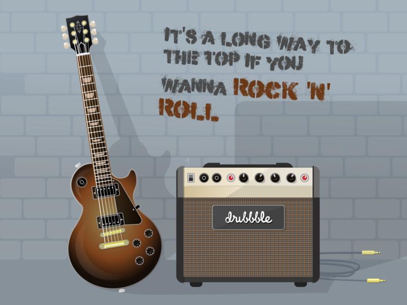 Guitar & Amp vector illustration les paul rock band rock and roll guitar amp amp electric guitar guitar