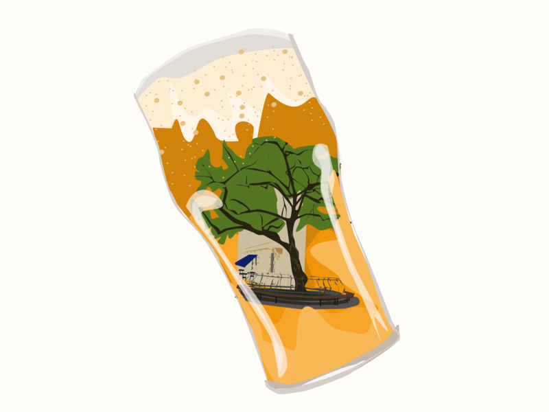 Beer pub sticker beer logo vector illustration design