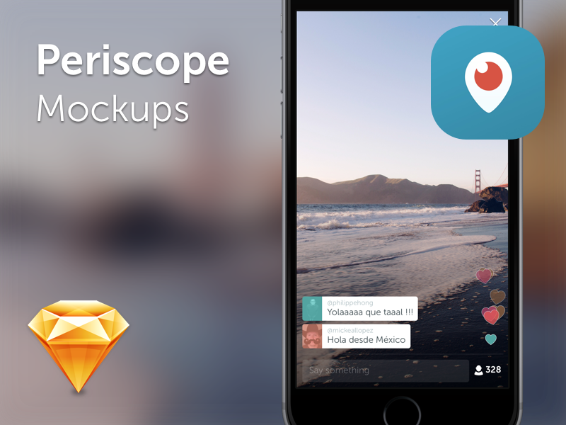 Periscope Mockup 2015 live twitter sketch free ios mockups app periscope