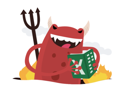 KeyPay Nemesis bad fire satan nemesis devil evil frog excel accouting payroll illustration