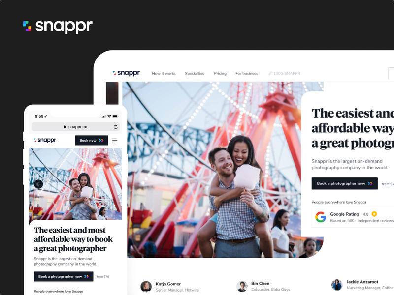 Snappr Rebrand mobile website photo photographer branding snappr webdesign