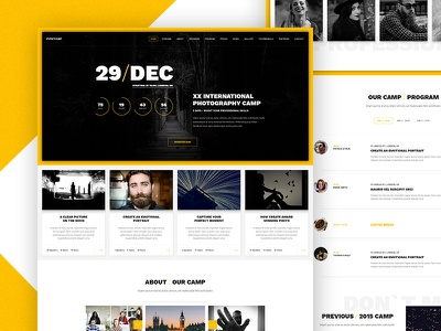 Event template photography ux conference landing ui template event design