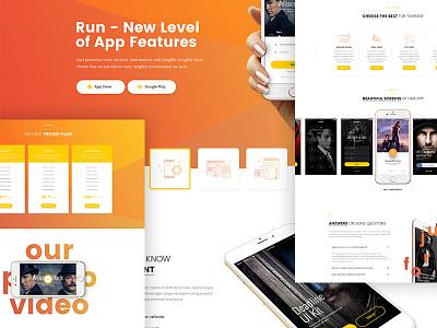 Run P/3 iphone webdesign template one page landing application app design