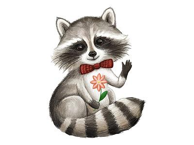 Cute raccoon drawing cute pencil paper handdraw animal art sketch illustration character raccoon