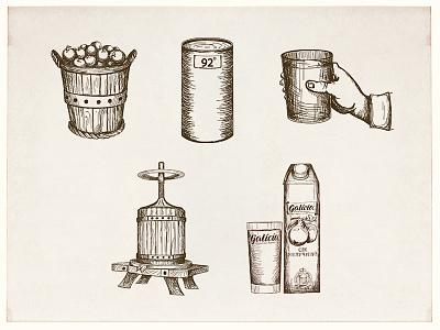 Icon set vintage sketch product drawing juice handdraw icon icons illustaration