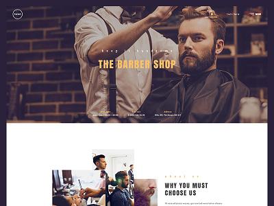 Barber shop homepage ux ui one page landing web design design style hair salon shop barber