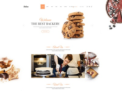 Delice p/4 cake bake food landing page backery onepage restautant ui webdesign