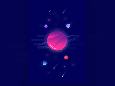 Poster illustration vector gradient planets cosmic space poster design