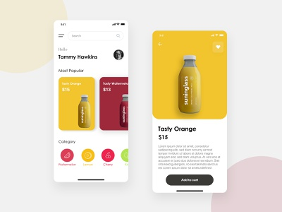 Fresh Fruit Juice App shop modern grocery colors design app health drink fruite ui  ux resturant orange juice designs uiux juicy mobile app design fruite juice juice app juices juice