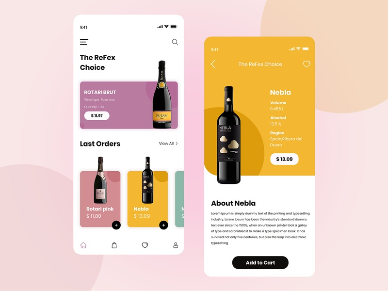 On Demand Alcohol Delivery App ecommerce whiskey beer drink wine bottle bottle concepts wine glass vector design concept product clean application mobile ui mobile app design mobile app ondemand alcohol wine