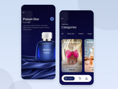 Best Perfume Applications ios design app designer essence shop app product mobile ui mobile app store shop app development flowers fragrance ux app ui user interface app design app perfume perfumes