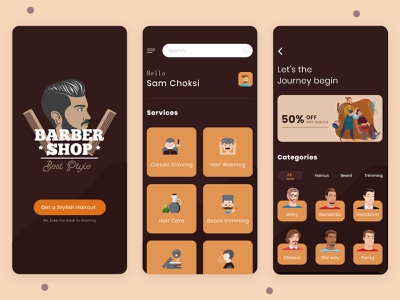 Barber Shop Mobile App uber for barbers barbershop uiuxdesign uiux hairstyles personal care hairstyle mobile app design saloon haircut beauty salon design barber trainer app salon booking app salon app hair stylist app hair stylist beauty salon beauty app barber shop