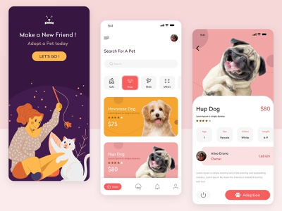 Best Pet Adoption App mobile ui pet care app pet app pet care app designer uiux ui mobile application find dog find a pet dog app animal rescue animal app design mobile app design mobile app pet adoption pets pet