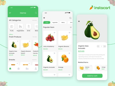 Grocery Delivery App Design Inspired by Instacart ecommerce app concept product ui product android ios food app design mobile design mobile ui mobile app delivery vegetables food grocery store grocery list grocery app grocery online