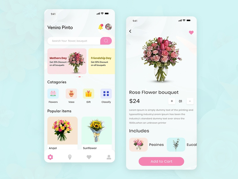 🌺 Flower Delivery App Development app design app development mobile app rose delivery flower delivery app flower delivery app flowers design flower illustration ui design ux ui product design ecommerce create your own flower flower app flowershop flowers flower