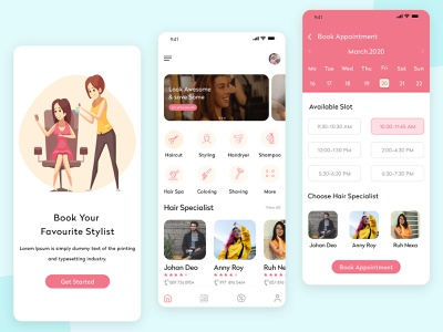 Best Hair Salon Appointment App salon appointment app salon booking app beauty app hair stylist booking app design uiux app development girls hair spa haircut hairstyle park girl mobile ui mobile app hair salon app hair salon