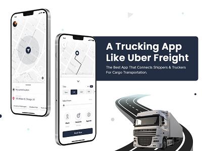 An App Like Uber For Trucking Industry transportation on-demand logistics trucking app ui business uber clone uber design ux ui freight uber uber app truck transport app like uber uber freight