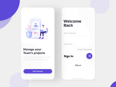 Login/Signup UI Design for Project Management App ux design task management mobile ui mobile app design mobile app management app management app development app design