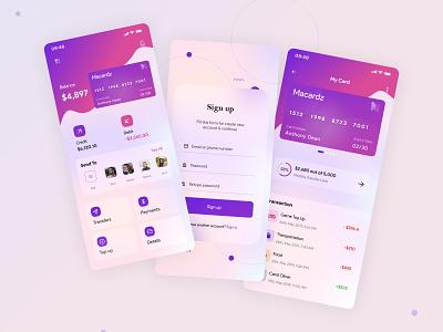 E-Wallet - Mobile Banking UI/UX Design mobile app design ui design digital payments ui ux ui money app financial fintech e-wallet online banking money transfer mobile banking banking app finance
