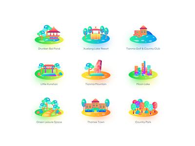 landmark building icon3 illustrator website web app branding logo icon design ui flat illustration