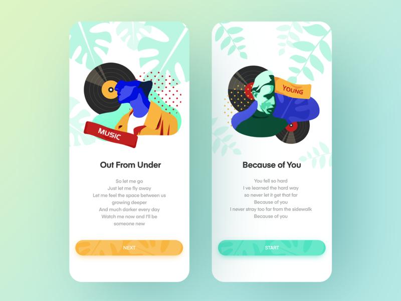 music app blue music ui identity app illustration design