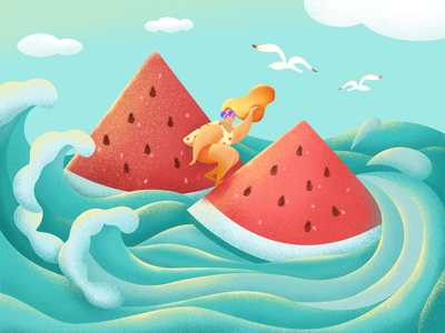 GREAT HEAT summer wave great lakes cloud watermelon sea 24 solar term great heat illustration design
