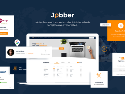 Jobber Job Board HTML5 Template css animation mobile design responsive design jquery css3 html template hire job board