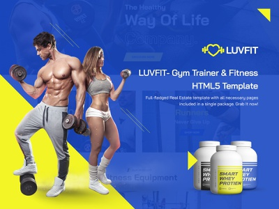 LUVFIT- Gym Trainer & Fitness HTML5 Template javascript jquery scss css3 html protein website design graphicsdesign html template fitness training gym