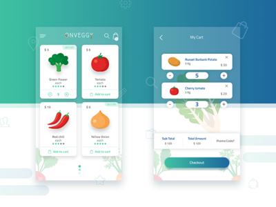 On veggy ecommerce mobile app ui design kit by potenza for E commerce mobili