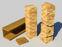 Jenga Classic Game 3d model | Product Shot