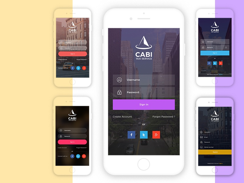 Free Cabi App UI - Sign in & sign up Kit | Download Now free psd free app ui free taxi app uber cab inspiration mobileui ux simple psd modern