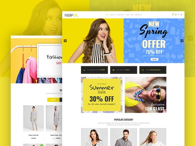 Modern Fashion Design fashion template fashion homepage fashion banner fashion landing yellow shop sneaker product fashion e-commerce ecommerce
