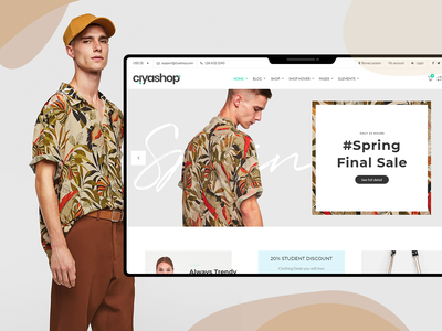 CiyaShop E-commerce Theme HomePage fashion e-commerce theme design white web landing page product design flat clean minimal ecommerce shop store design ui ux